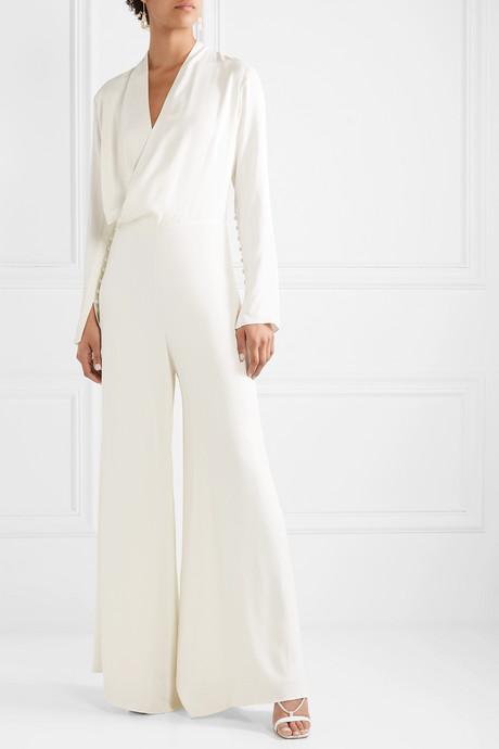 The Tina wrap-effect matte-satin jumpsuit