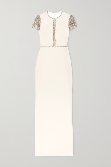 JENNY PACKHAM | Jenny Packham - Cosmo Embellished Tulle And Cady Gown - Ivory | Goxip