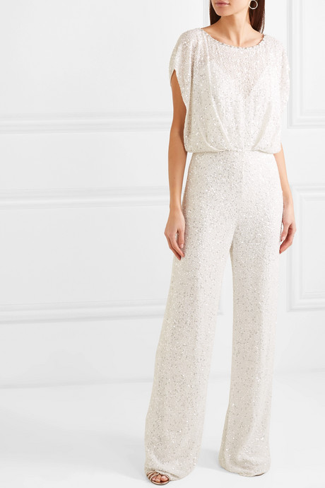 Apollo open-back crystal-embellished sequined chiffon jumpsuit