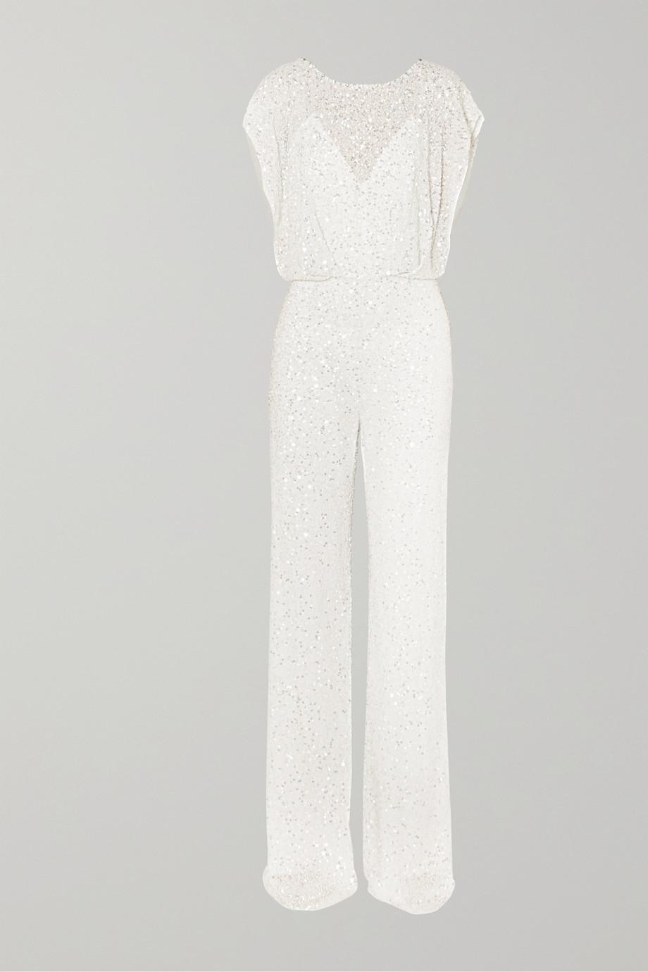 Jenny Packham Apollo open-back crystal-embellished sequined chiffon jumpsuit