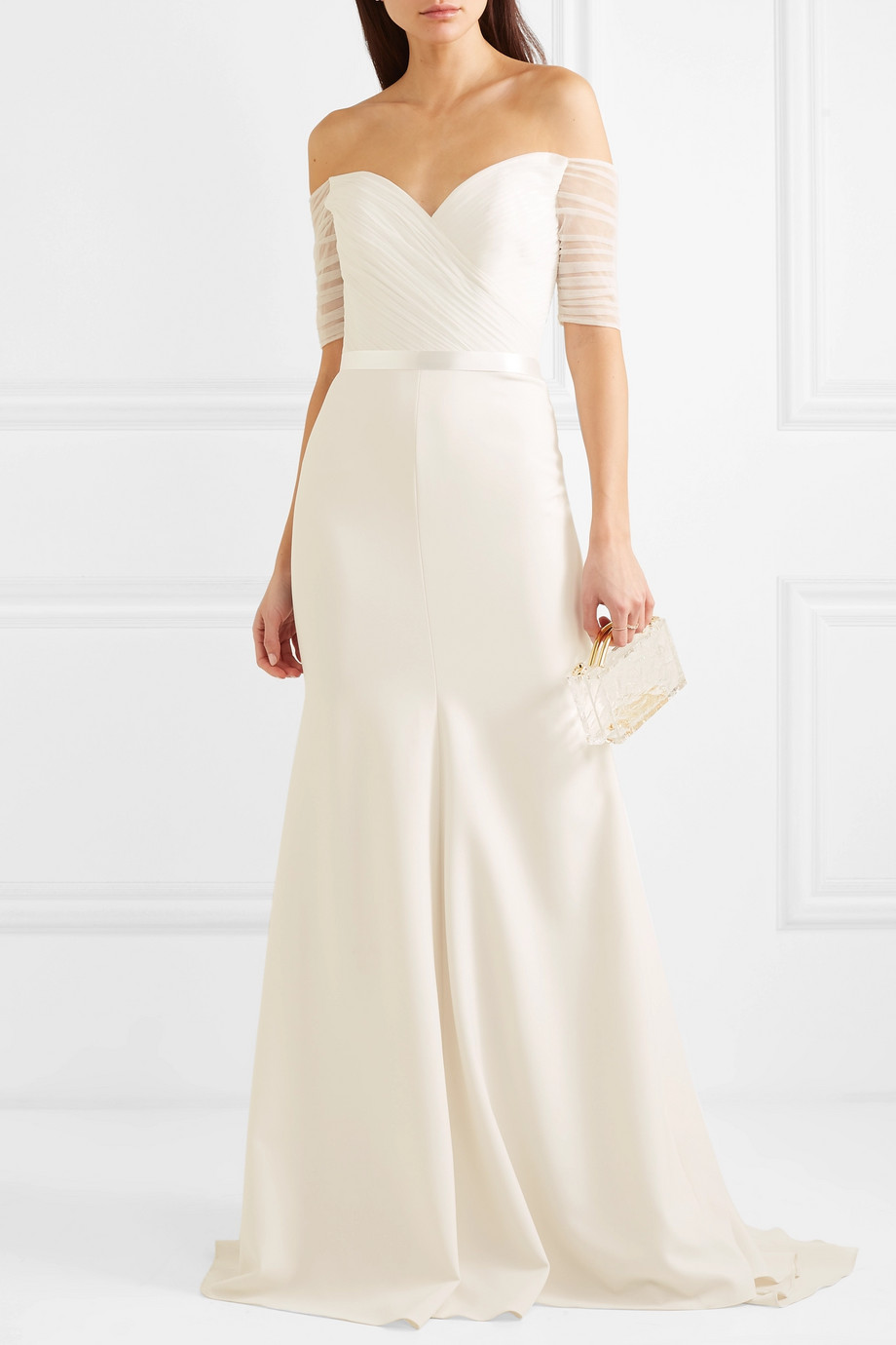 Jenny Packham Venus off-the-shoulder tulle and cady gown