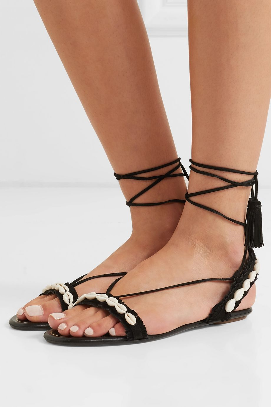 Aquazzura Honolulu suede and shell sandals