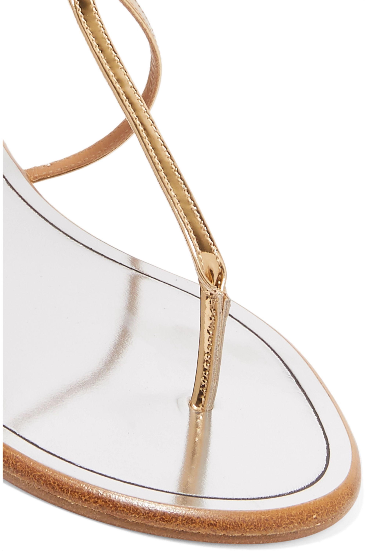 Aquazzura Sandales en cuir et en corde métallisés Spin Me Around