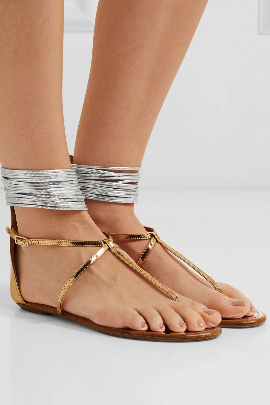 Aquazzura Spin Me Around metallic leather and cord sandals