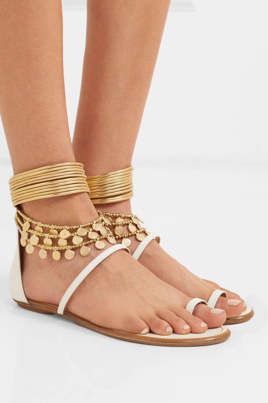 Aquazzura Queen Of The Desert embellished leather sandals