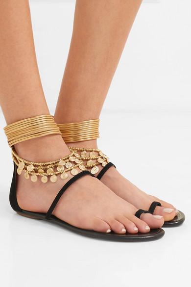 Aquazzura Sandals Queen Of The Desert embellished suede sandals