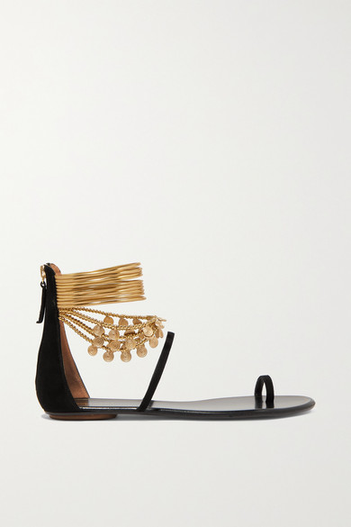 Queen Of The Desert Embellished Suede Sandals by Aquazzura