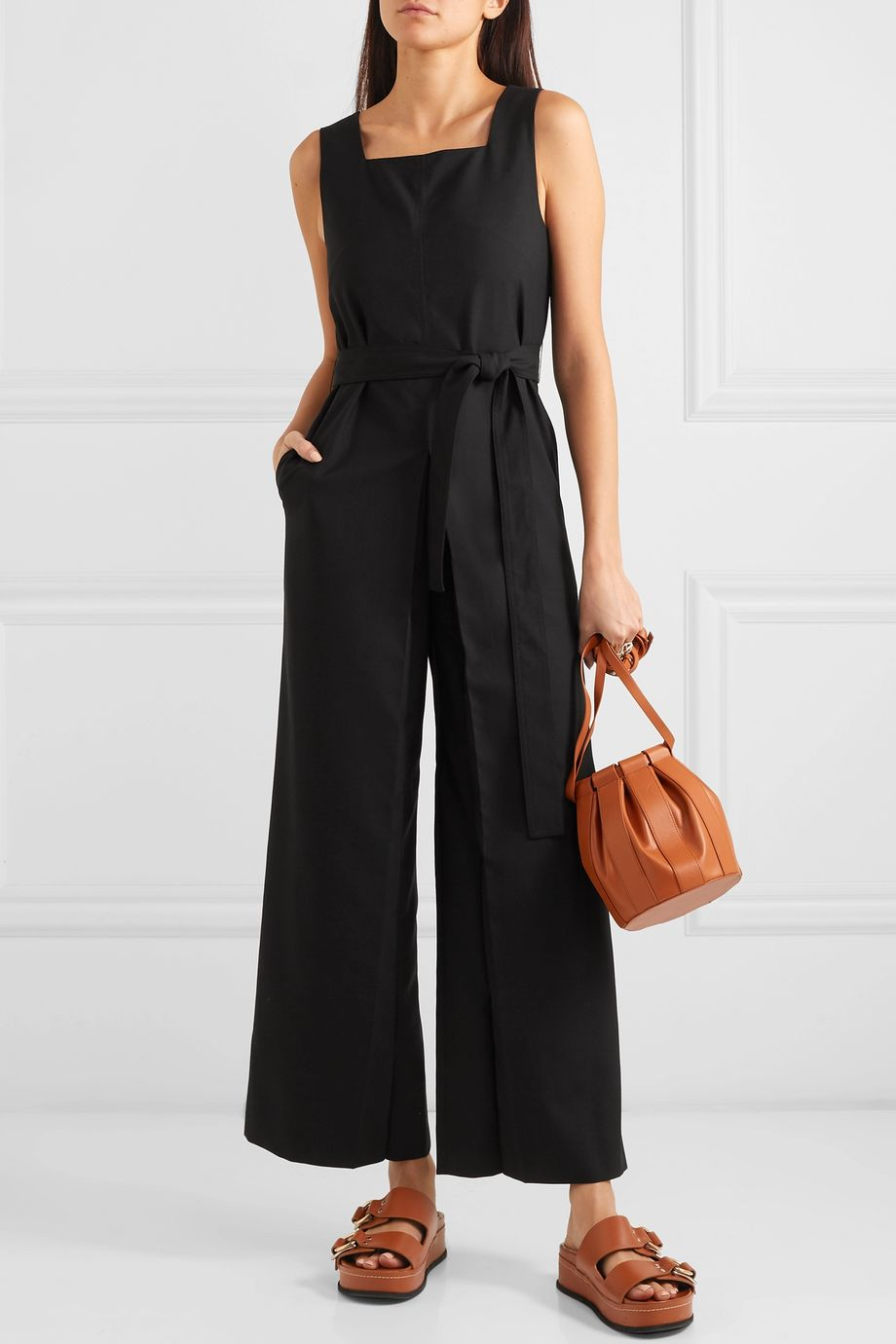 LOW CLASSIC Belted crepe jumpsuit