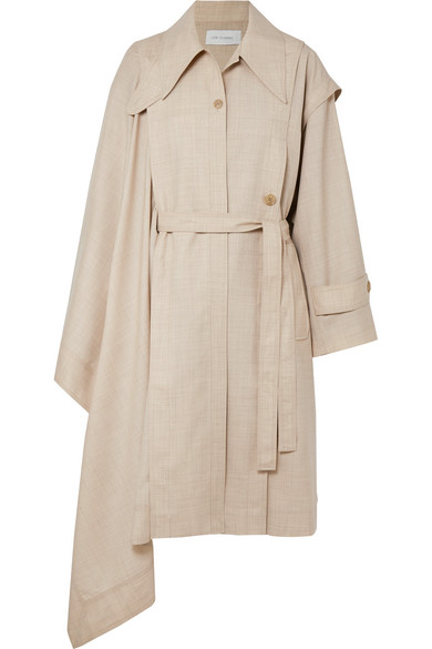Unbalance Asymmetric Draped Wool Voile Trench Coat by Low Classic