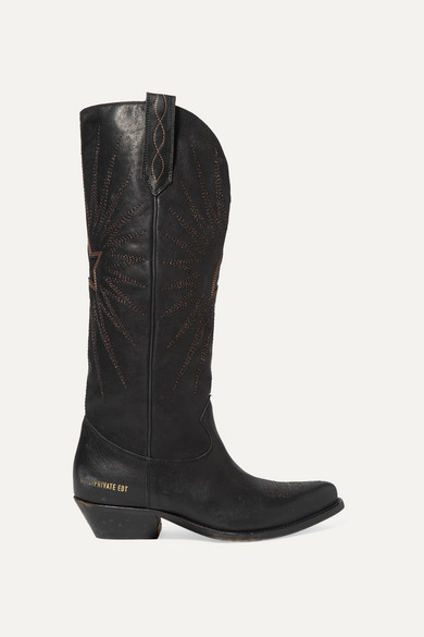 GOLDEN GOOSE DELUXE BRAND   Golden Goose - Wish Star Distressed Embroidered Leather Knee Boots - Black   Goxip