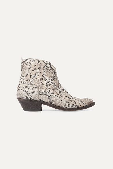 GOLDEN GOOSE DELUXE BRAND   Golden Goose - Young Distressed Snake-Effect Leather Ankle Boots - Snake Print   Goxip