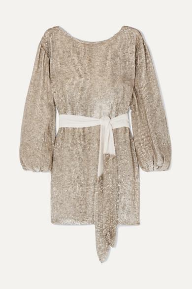 Retroféte GRACE VELVET-TRIMMED SEQUINED SATIN MINI WRAP DRESS