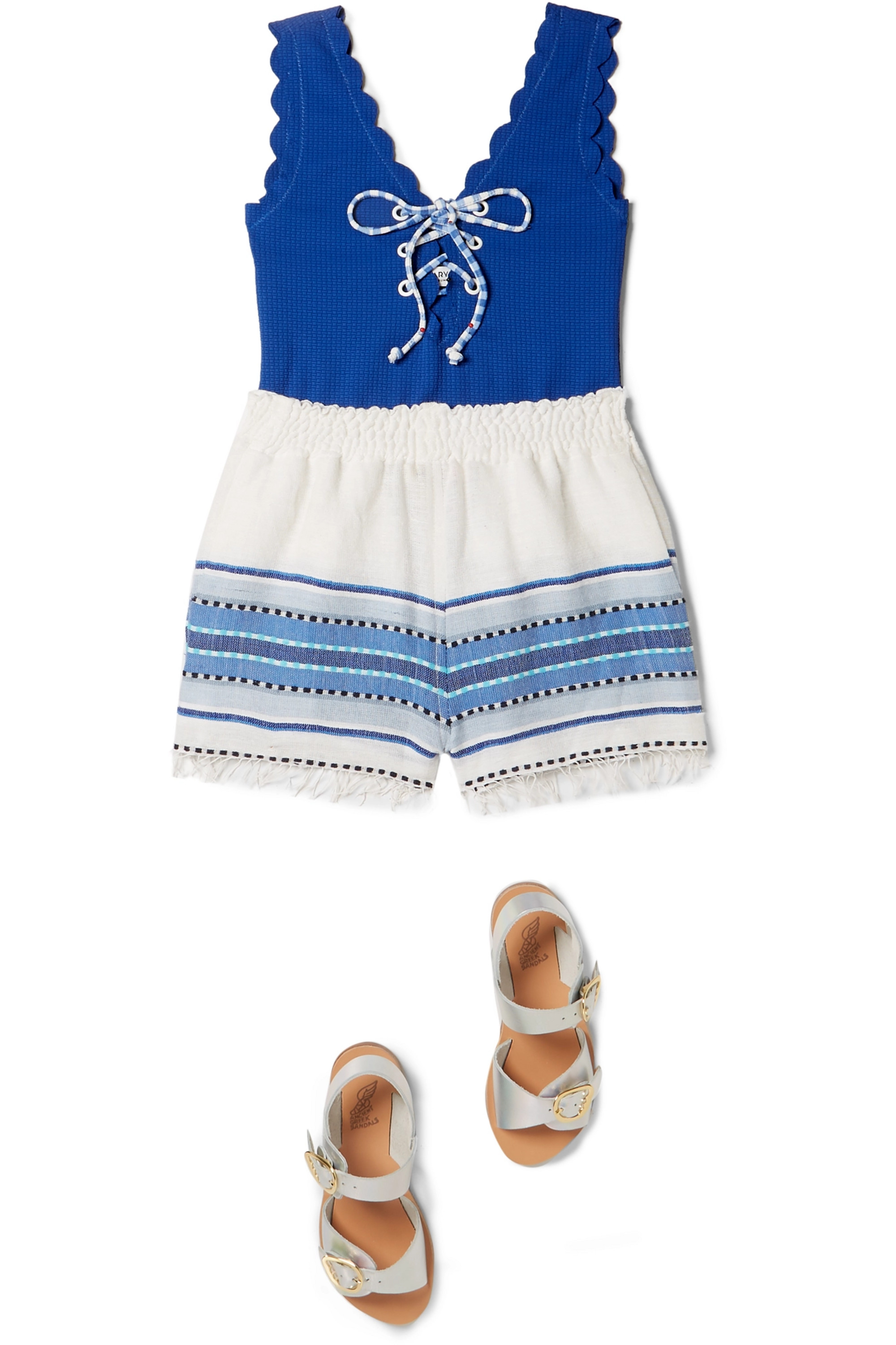 Marysia Kids Palm Springs scalloped lace-up stretch-crepe swimsuit