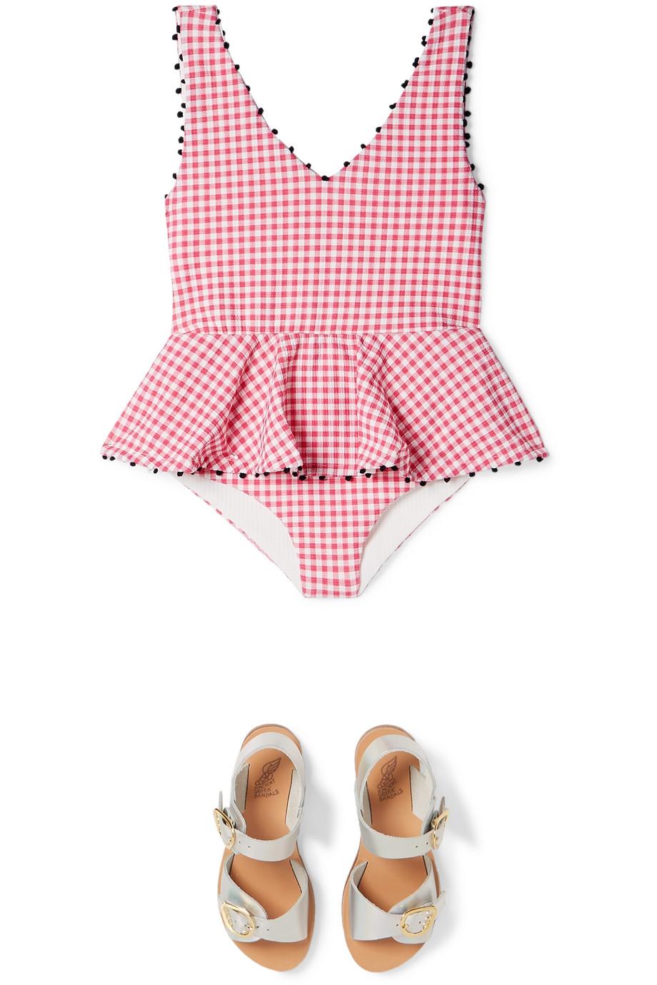 Marysia Kids Bumby ruffled gingham stretch-crepe swimsuit
