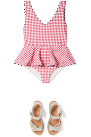 Marysia Kids Bumby ruffled gingham stretch-crepe swimsuit