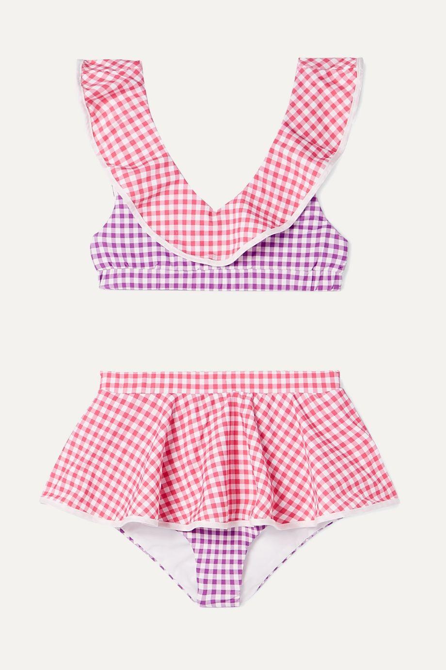 Marysia Kids Piana ruffled patchwork gingham stretch-crepe bikini