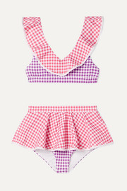 Piana ruffled patchwork gingham stretch-crepe bikini