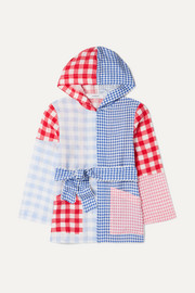 Patchwork gingham linen hooded robe