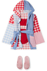 Marysia Kids Patchwork gingham linen hooded robe