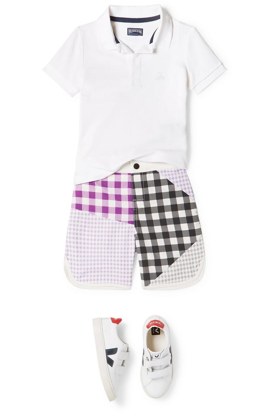 Marysia Kids Bumby Hampton 拼缝方格游泳短裤