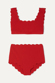 Santa Monica scalloped stretch-crepe bikini