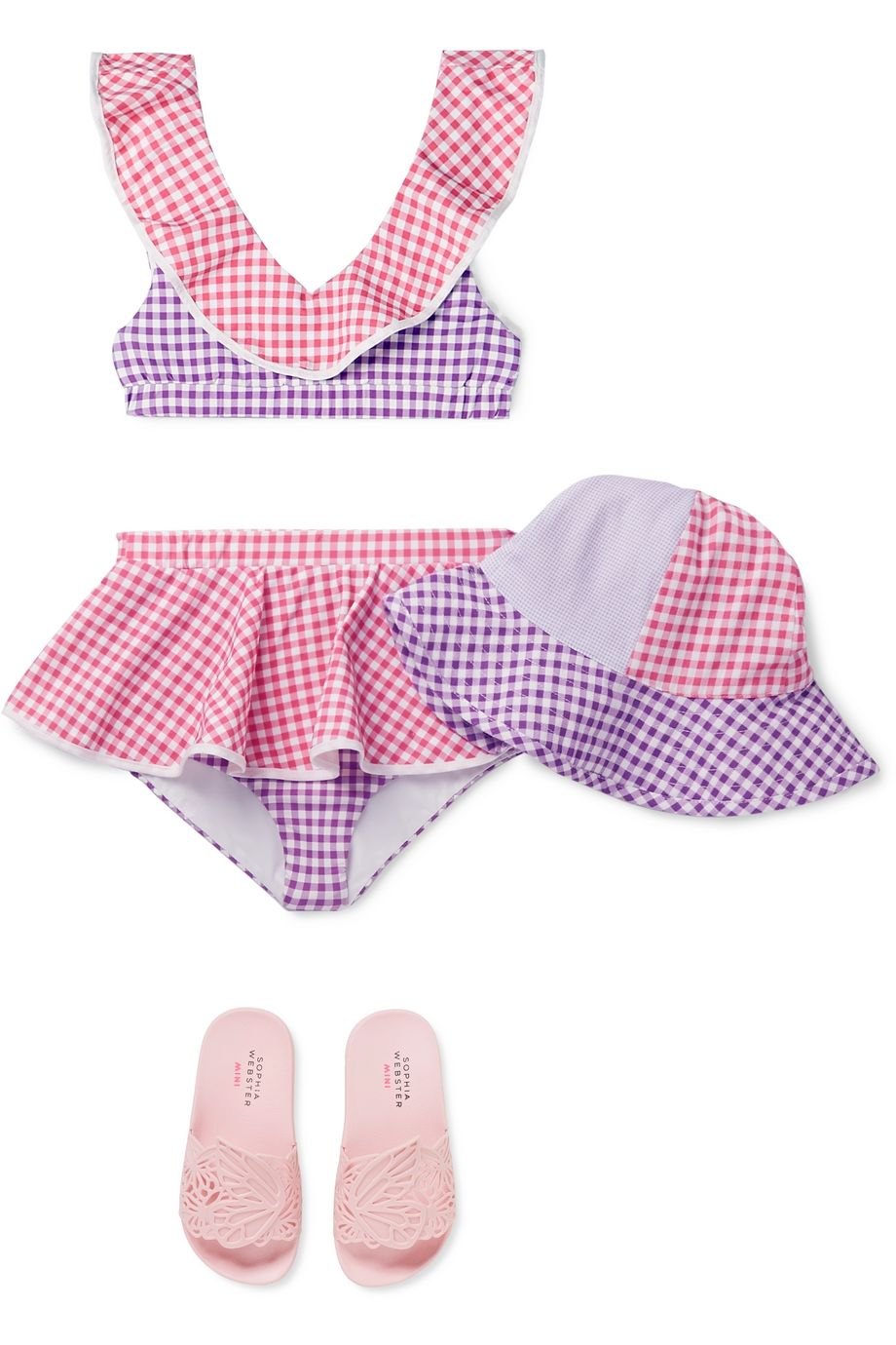 Marysia Kids Bumby gingham cotton-canvas hat