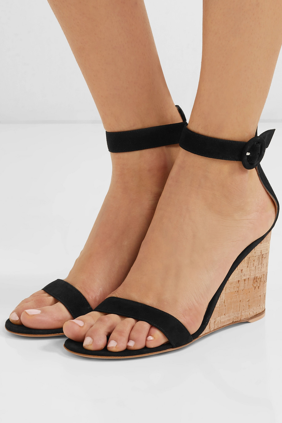Gianvito Rossi Portofino 85 suede wedge sandals