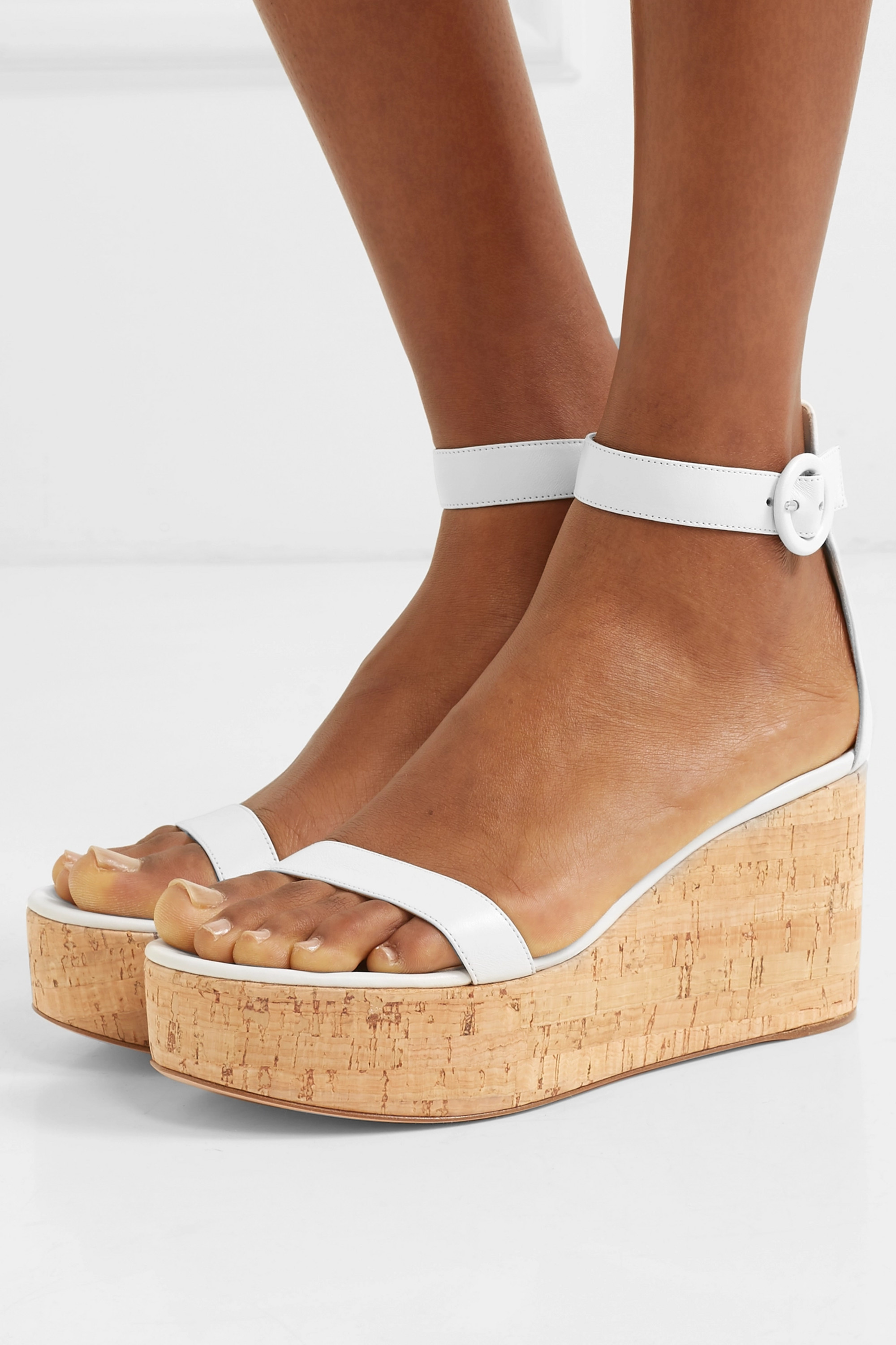 Gianvito Rossi Portofino 45 leather wedge sandals