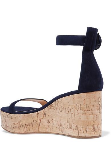 Gianvito Rossi Sandals Portofino 45 suede wedge sandals