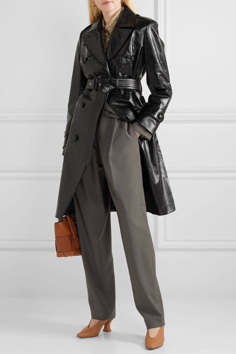 Burberry Double-breasted leather trench coat