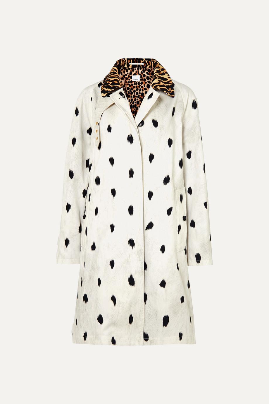 Burberry Animal-print cotton-twill trench coat