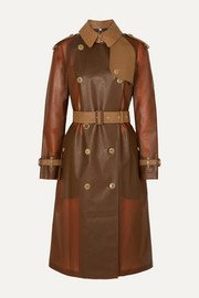 Croc-effect leather and cotton-trimmed PVC trench coat