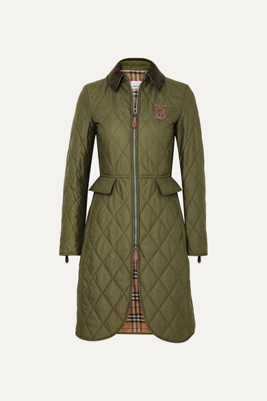 Corduroy And Leather Trimmed Quilted Shell Coat by Burberry