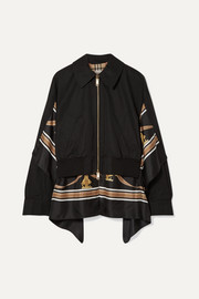 Burberry Paneled cotton-gabardine and printed silk-twill jacket