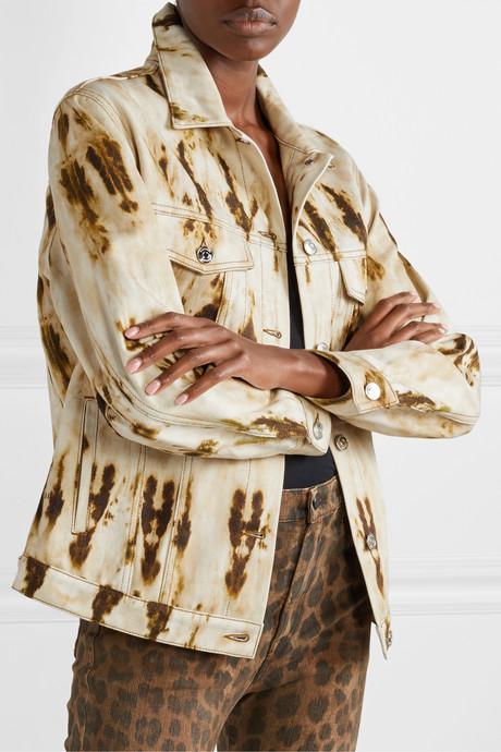 Leather-trimmed bleached denim jacket
