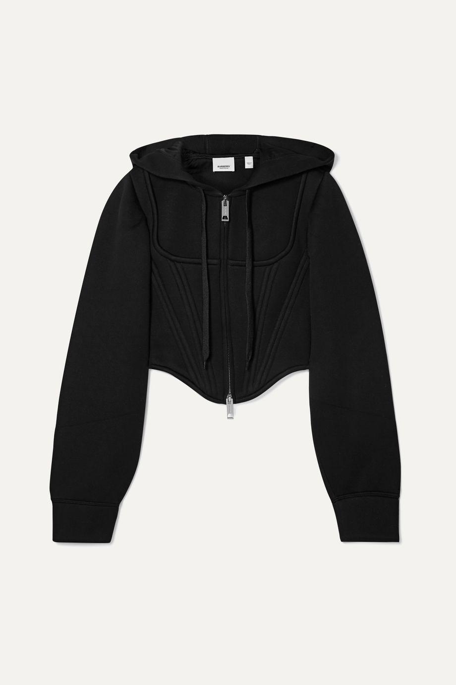 Burberry Cropped paneled modal-neoprene hoodie
