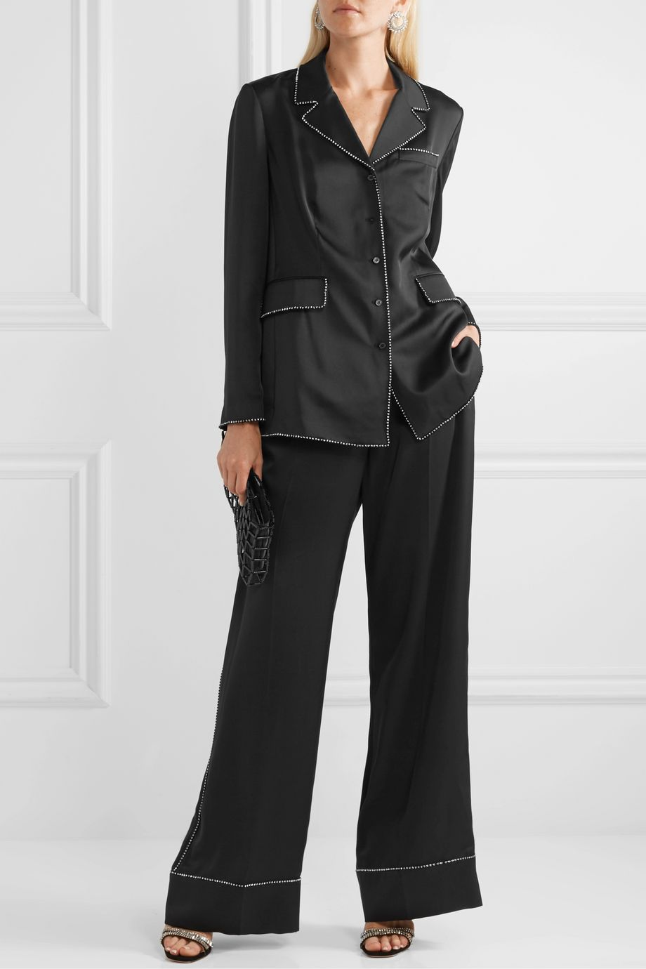 Burberry Crystal-embellished mulberry silk-satin wide-leg pants