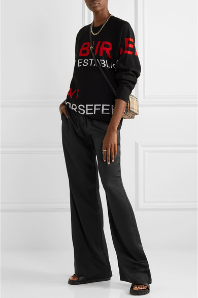 Mulberry Silk Satin Wide Leg Pants by Burberry