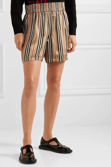 Striped silk-satin shorts