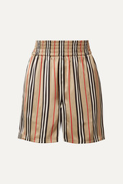 Striped silk-satin shorts