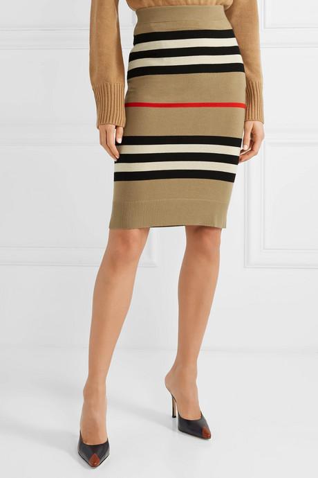 Striped merino wool skirt