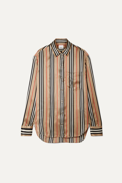 Striped Silk Satin Shirt by Burberry
