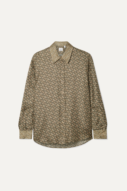 Burberry Bedrucktes Hemd aus glänzendem Seiden-Twill
