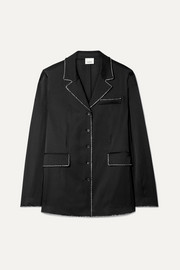 Burberry Crystal-embellished mulberry silk-satin shirt