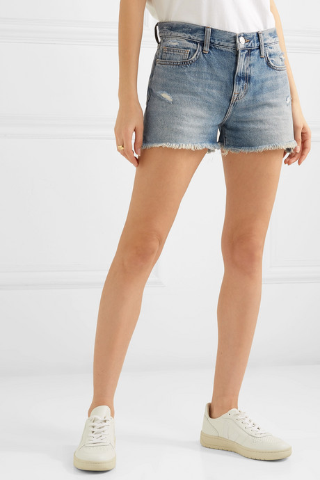 The Boyfriend distressed denim shorts