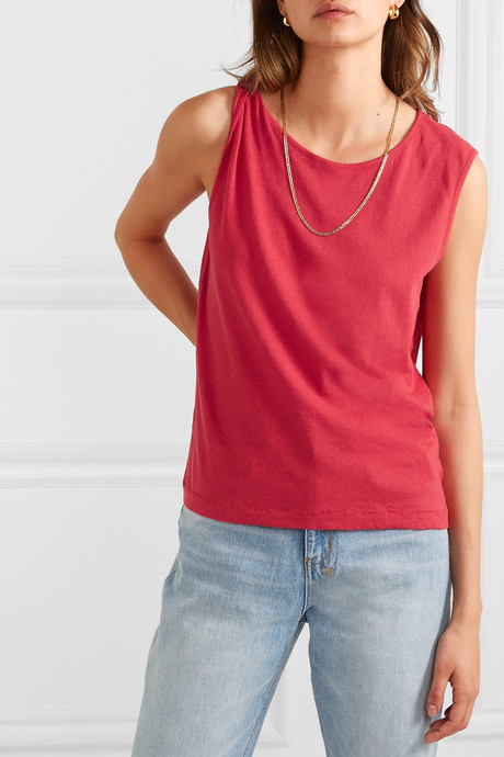 The Tied Up Muscle linen and cotton-blend top