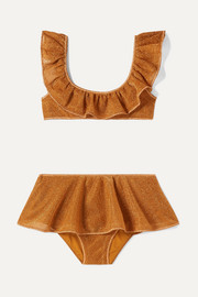 Ruffled stretch-Lurex bikini