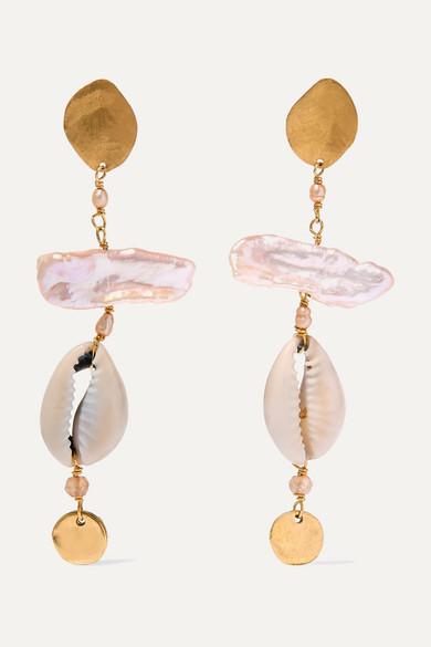 CHAN LUU | Chan Luu - Gold-Plated, Pearl, Shell And Citrine Earrings - One Size | Goxip