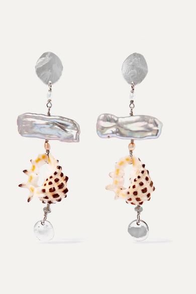 CHAN LUU | Chan Luu - Silver, Pearl And Shell Earrings - One Size | Goxip