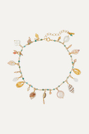 Gold-plated, shell and multi-stone anklet